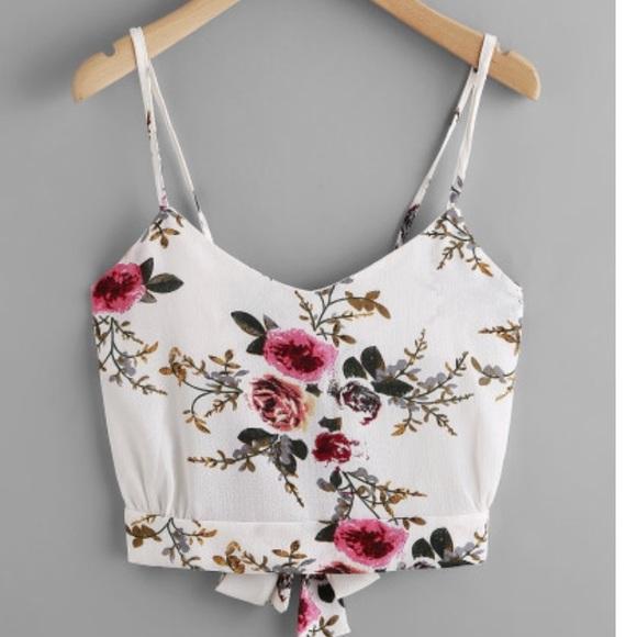 02e4cdc741 SHEIN Tops   Floral Print Random Split Tie Back Cami Top   Poshmark
